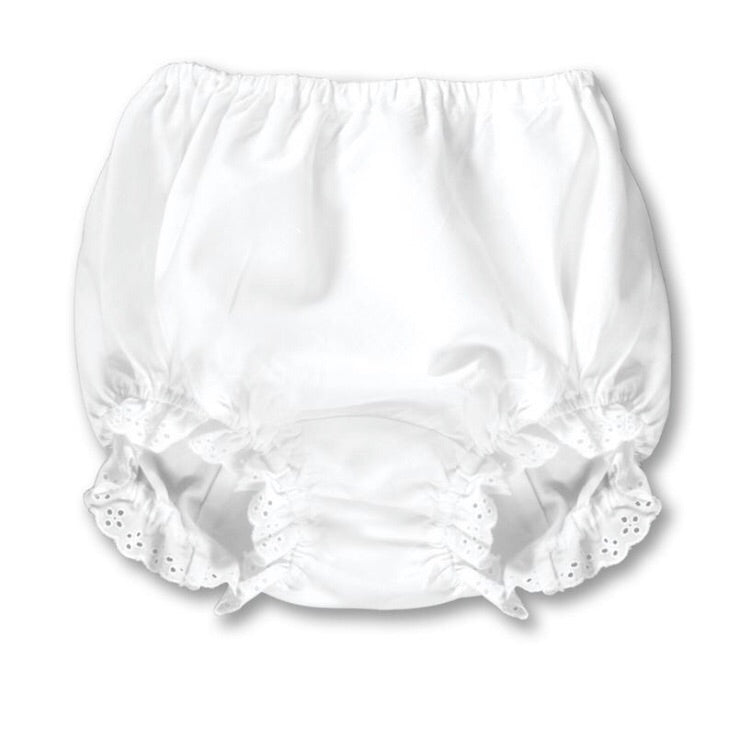 Girl White Diaper Cover with Lace