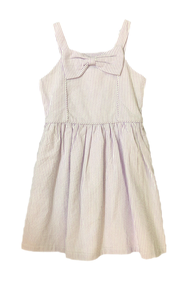 Ruffle Butts Purple Stripe Dress with Bow