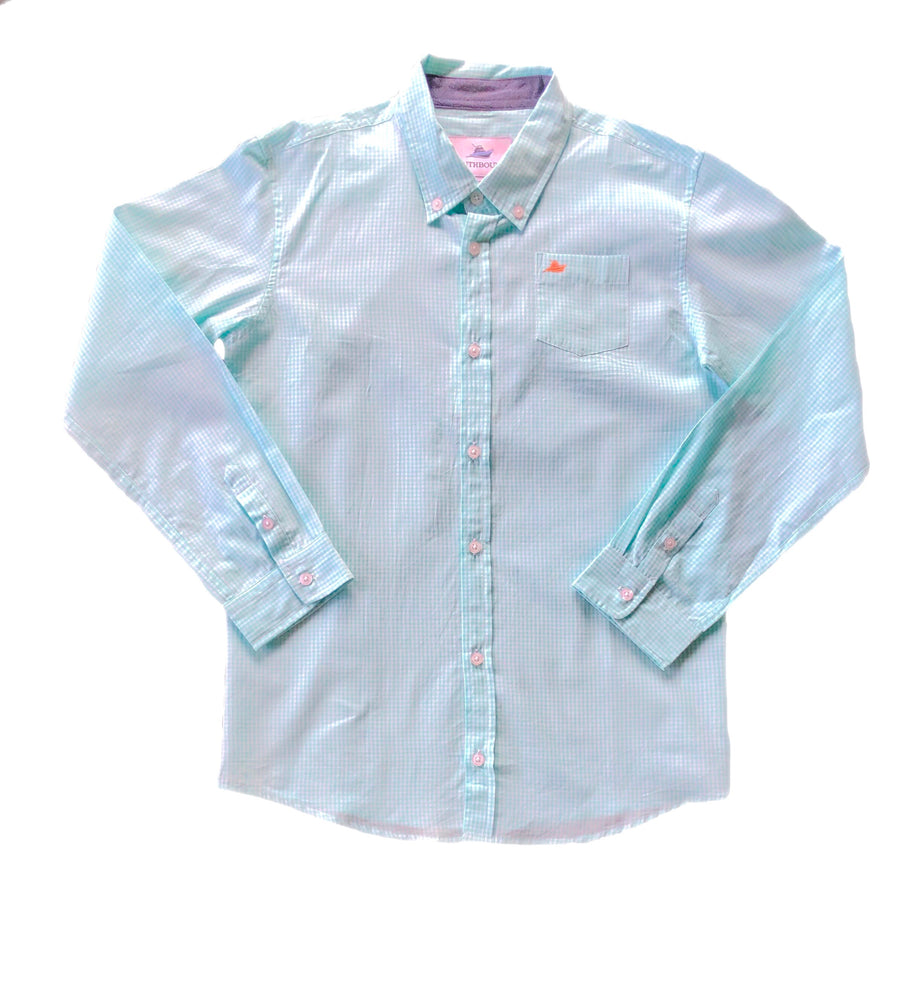 Southbound Mint Plaid Long Sleeve Button Up