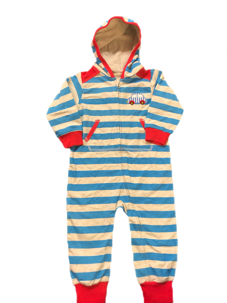 VaeNait Car Striped Hooded Romper