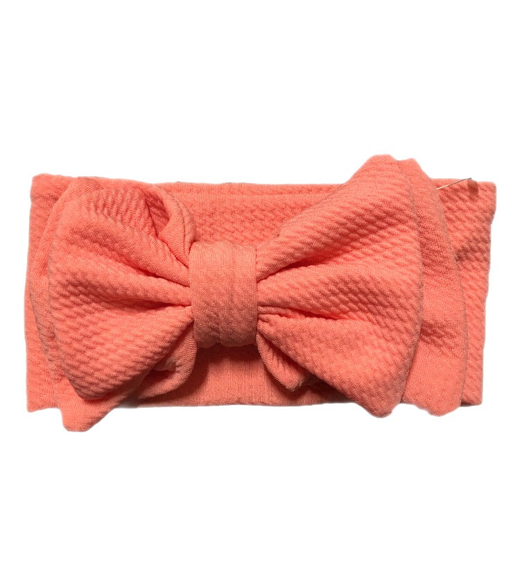 Messy Head Wrap Bow - Coral