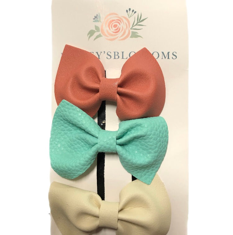 Bailey's Blossoms - 3 Pc Bow Hair Clip Set - Mauve , Mint & Ivory