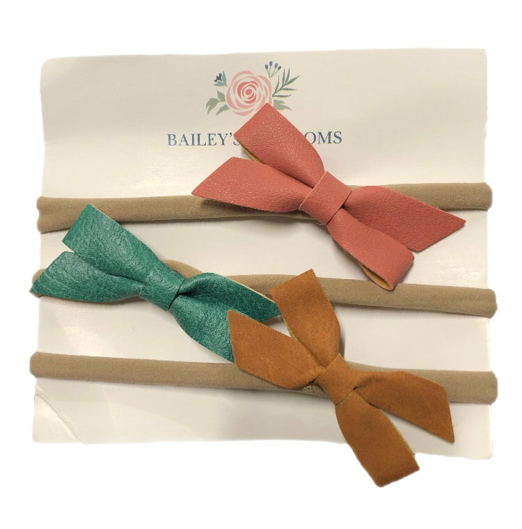 Bailey's Blossoms - 3pc Hair Bow Headband Set - Mauve, Olive Green, Brown