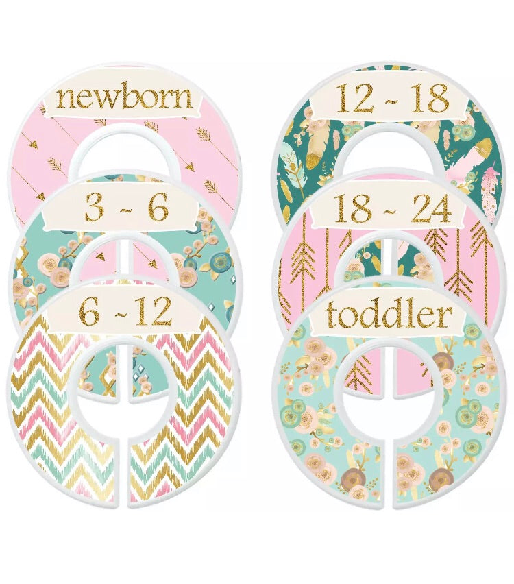 Mumsy Goose Baby Girl Clothes Dividers Nursery Closet Dividers Floral Arrow