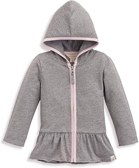 Burt's Bees Kids French Terry Gathered Zip Hoodie - Heather Grey