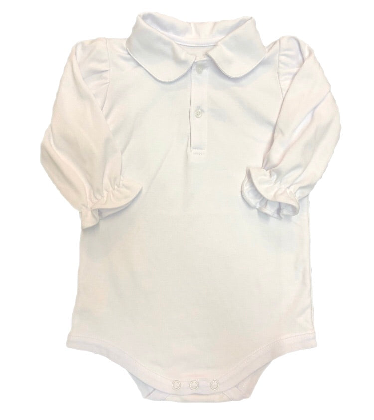 Remember Nguyen White Knit Ruffle Long Sleeve Onesie