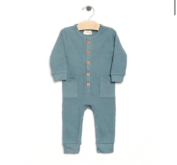 City Mouse Waffle Button Romper - Lake Blue