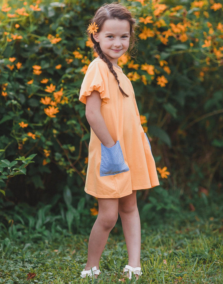 Mabel & Honey Yellow Dress with Blue Stripe Pockets