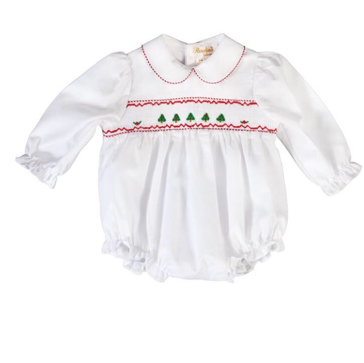 Rosalina Christmas Trees Smocked L.Sleeve Girl White Bubble