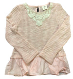 M.L. Kids Light Pink Sweater with Ivory Lace