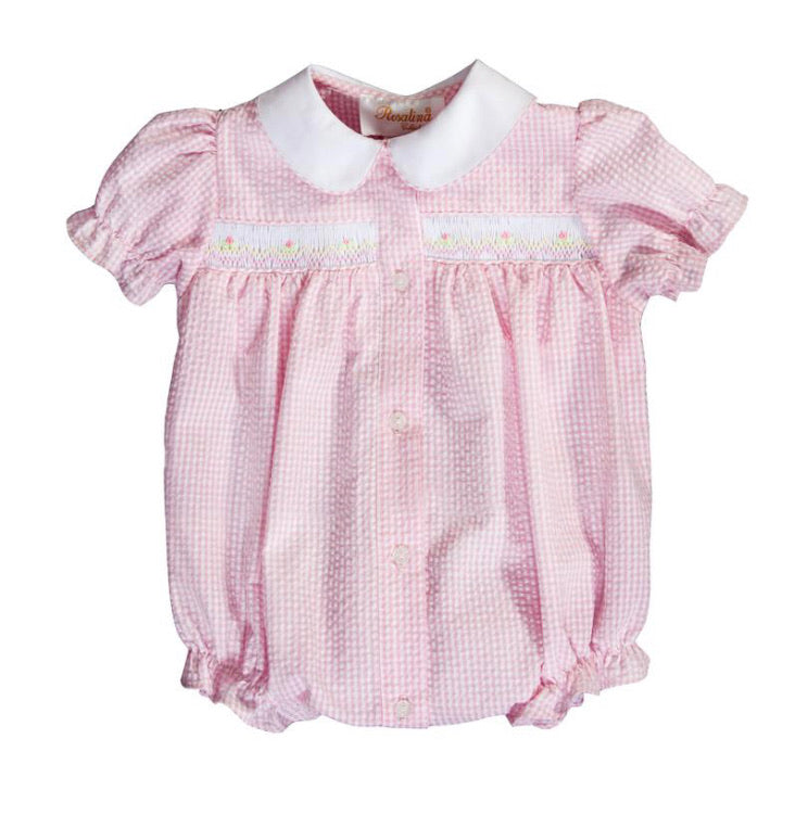 Rosalina Pink Gingham Seersucker English Smocked Girl Bubble