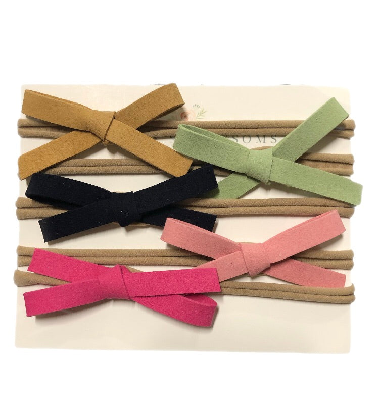 Leather Bow Variety Pack - Hot Pink/Olive Green/Carmel/Light Pink/Black