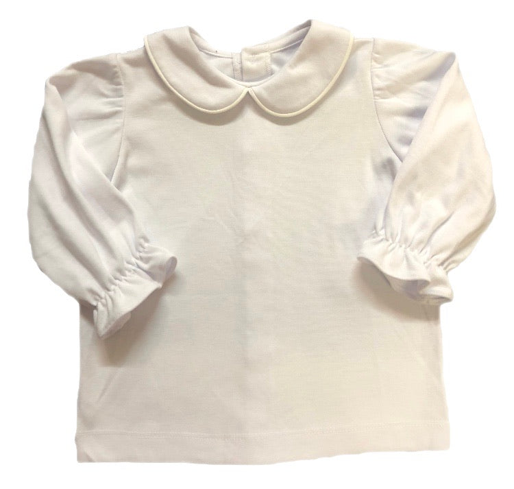 Remember Nguyen White Collared Long Flutter Sleeve Shirt