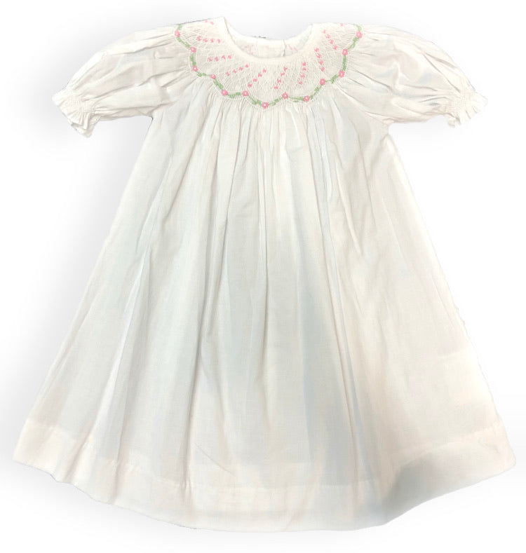 Love Me! White Smocked Dress with Pink Flowers