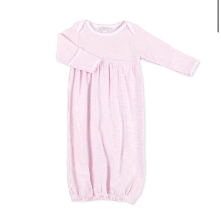 Magnolia Baby Mini Stripe Essentials Gown Light Pink