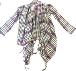 Plaid cardigan With Tapered Knotted front opening