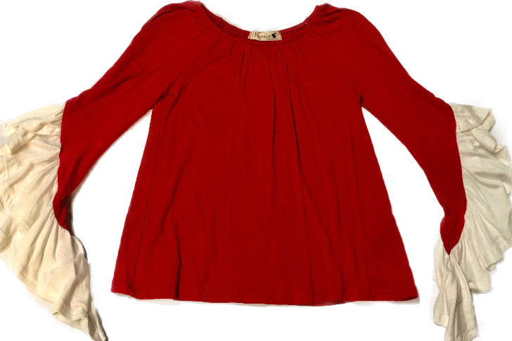 Pomelo Red Dress Shirt with Flutter Ivory Long  Sleeves