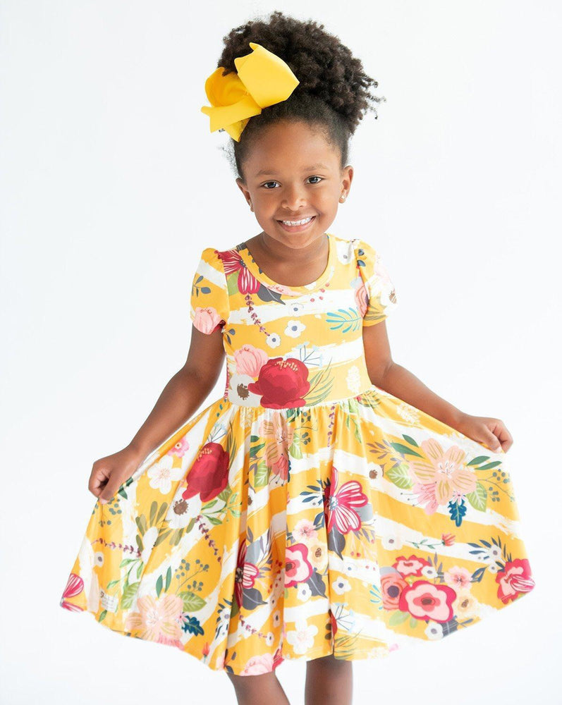 Charlie's Project Mustard Floral Stripe Hugs Collection Dress