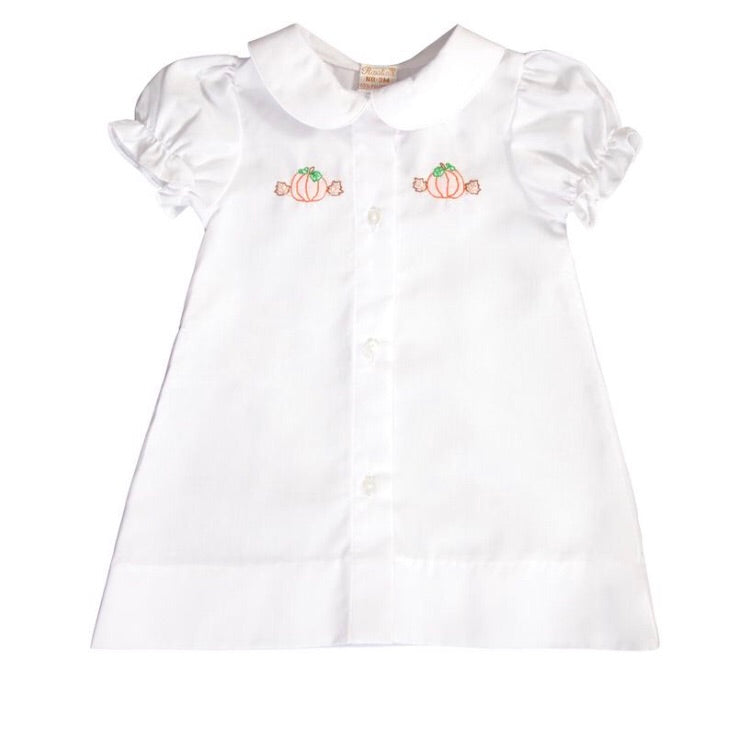 Rosalina Pumpkin Embroidered Girl White Daygown