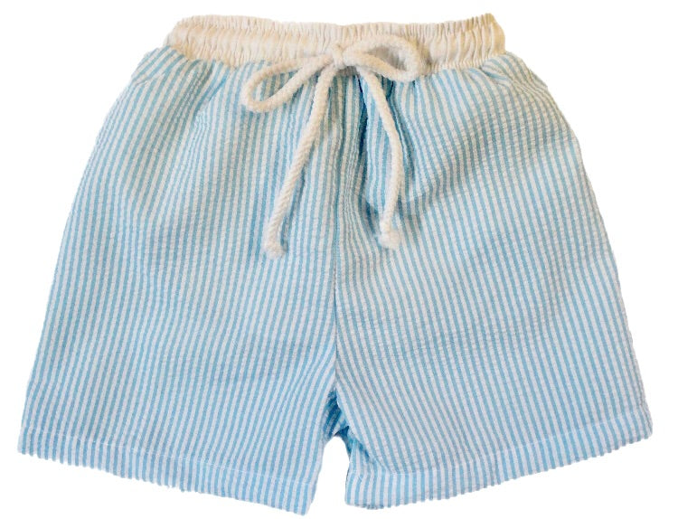 Sweet Dreams Blue Seersucker Swim Shorts