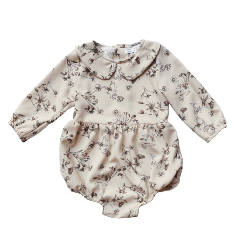 Bailey's Blossoms Long Sleeve Collared Tan Floral Onsie