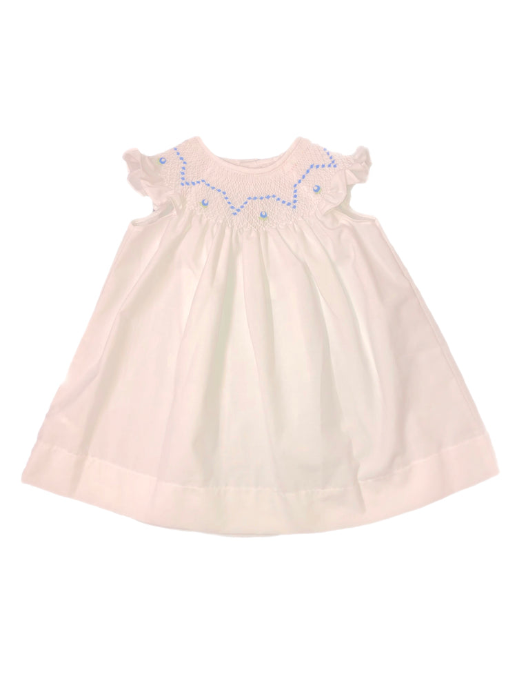Sweet Dreams White Dress with Blue Smocking