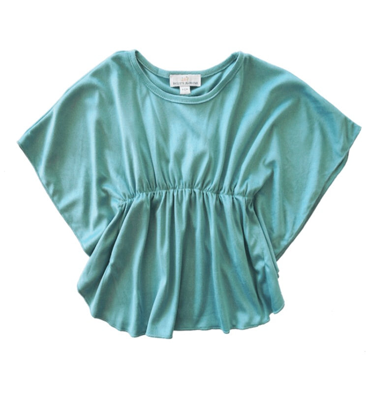Baileys Blossoms Cinched Poncho Top Turquoise