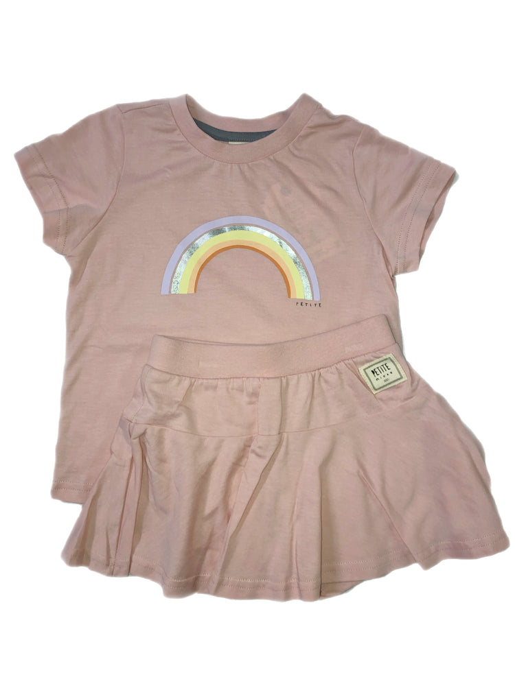 Petite Mieux Short Sleeve Rainbow Print Shirt With Lined Shirring Skirt