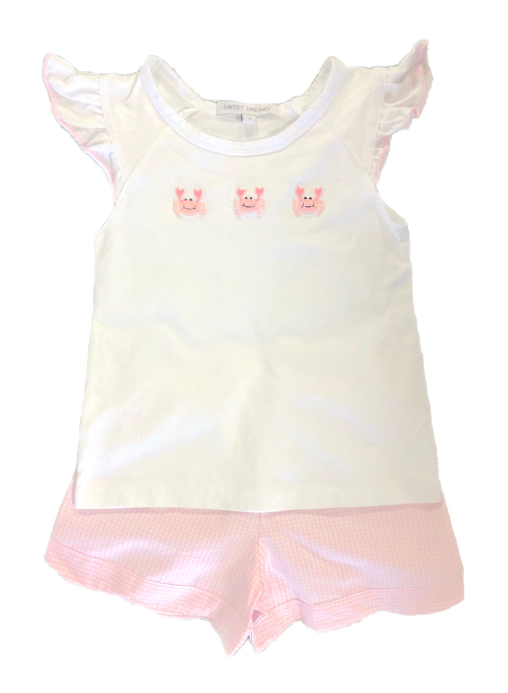 Sweet Dreams Light Pink Crab Short Set