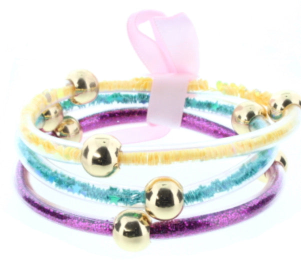 Jane Marie - Yellow , Teal & Pink Jelly Bracelets