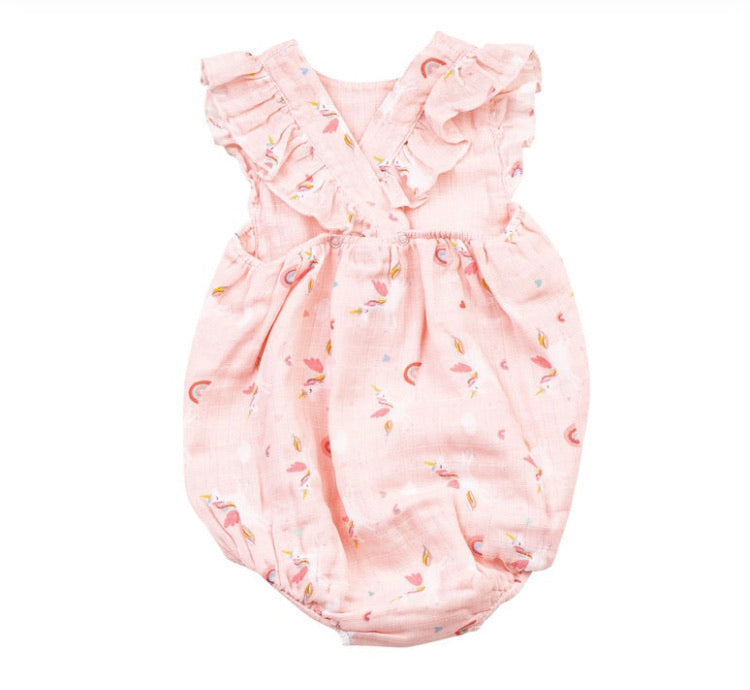 Angel Dear Flutter Sleeve Sunsuit in Unicorns Print