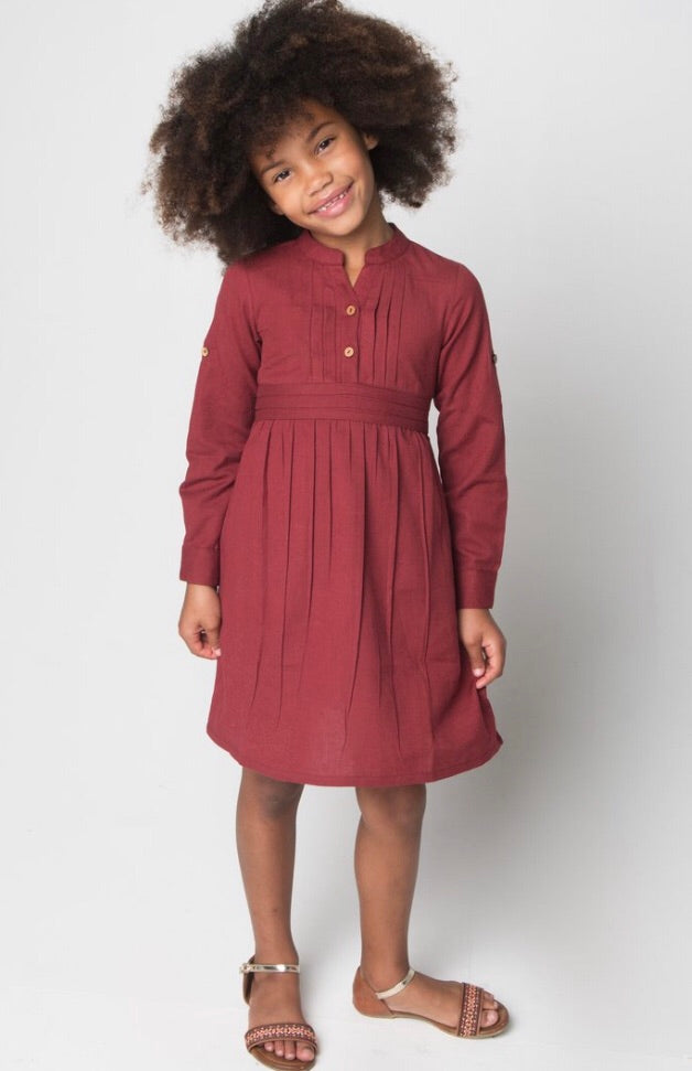 Yo Baby Maroon Pleated Dress with Belt and Button Closure