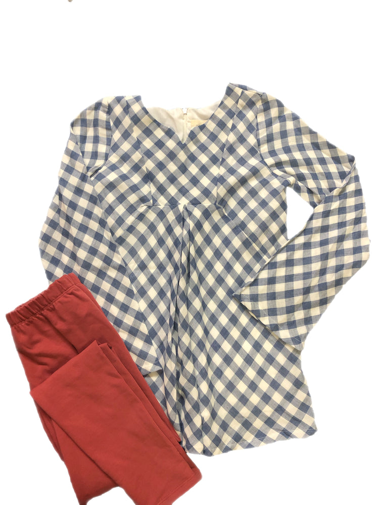 Mabel & Honey Blue/White Plaid With Mauve Leggings Set