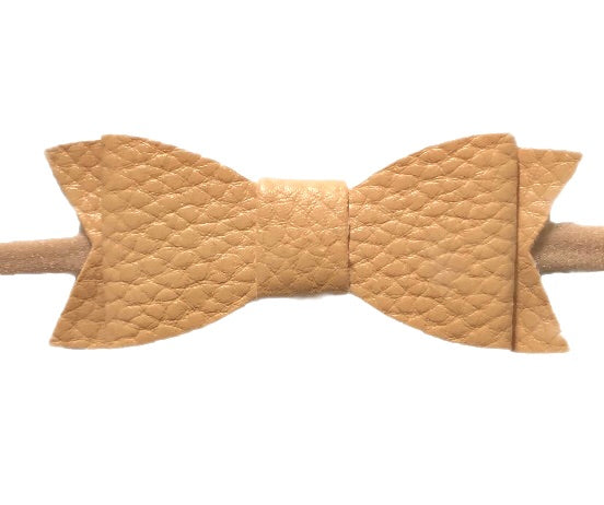 Baby Bling Skinny Leather Bowtie - Camel