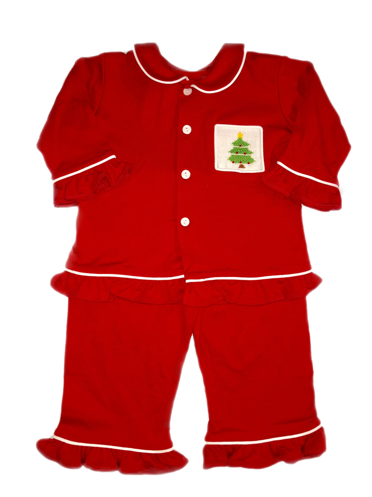Remember Nguyen Red Christmas Tree Smocked Girl Pajamas