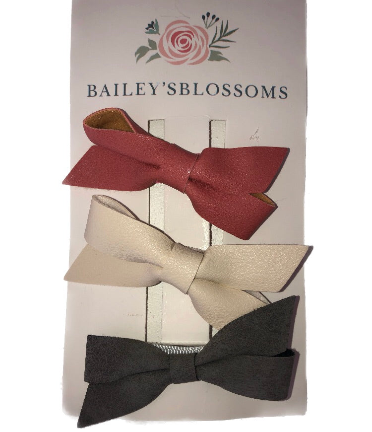 Baileys's Blossoms 3pc Classic Bow Hair Clip Set - Mauve, Ivory & Grey