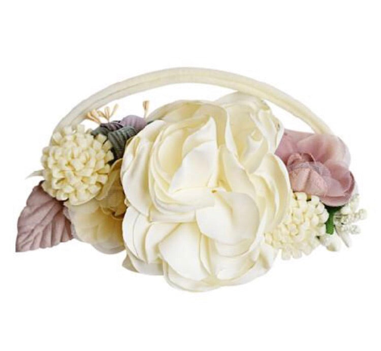 Bailey's Blossoms Floral Stretch Headband Ivory & Mauve