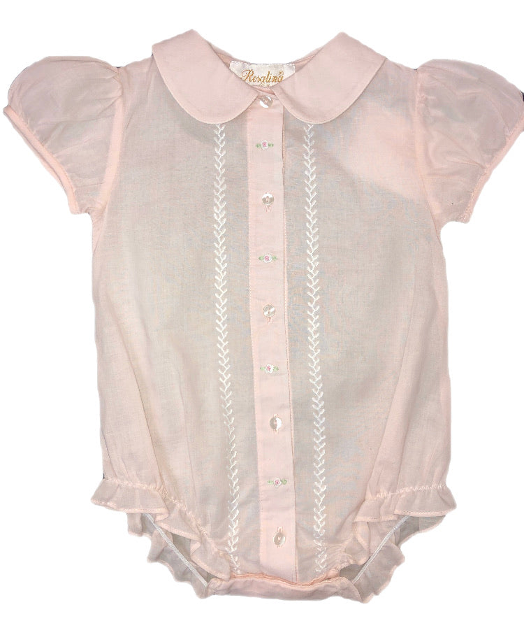 Rosalina Light Pink Feather Stitched Bub With Collar Bubble