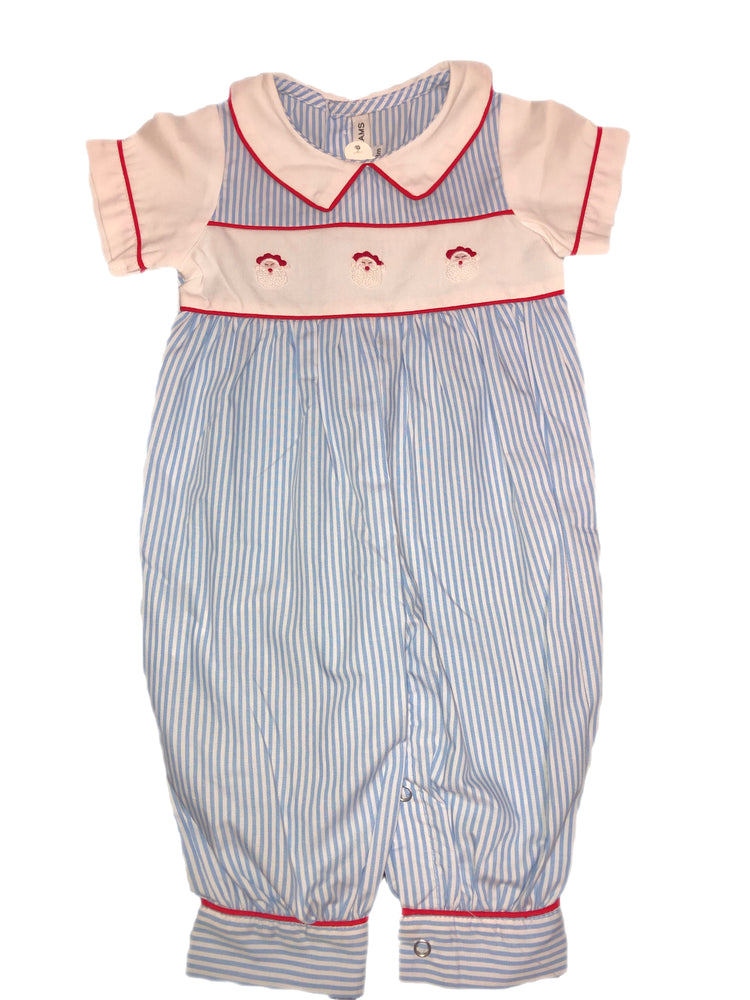Sweet Dreams Santa Sky Blue Striped Romper