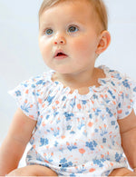 Feather Baby Ruched Bubble ~ Emily - Blue on White
