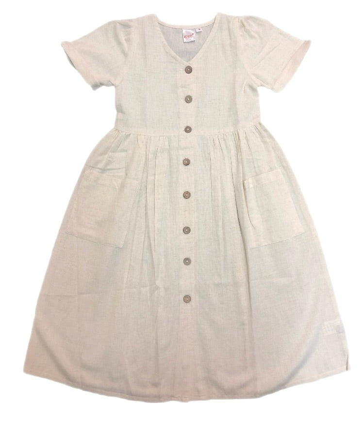 Yo Baby Ivory Button Down Dress With Pockets