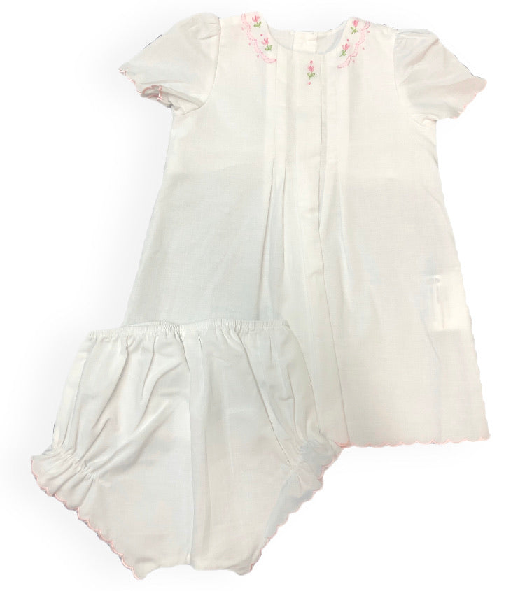 Love Me! White Vintage Diaper Set with Pink Piping