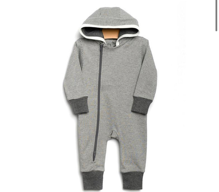 City Mouse Grey Stripe Hooded Romper