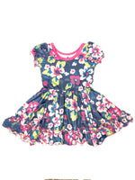 Charlie's Project Pink & Blue Floral Ruffle Hugs Collection Dres