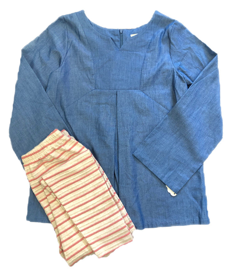 Mabel and Honey Blue & Peach/Ivory Stripped Pants