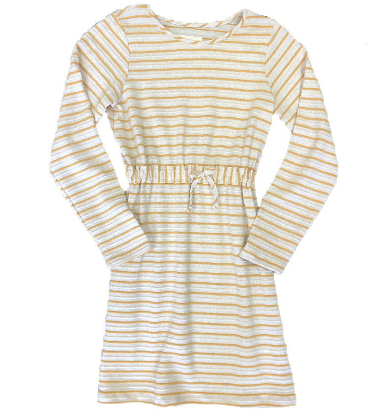 Mabel and Honey Ivory & Yellow Long Sleeve Dress with elastic Waist