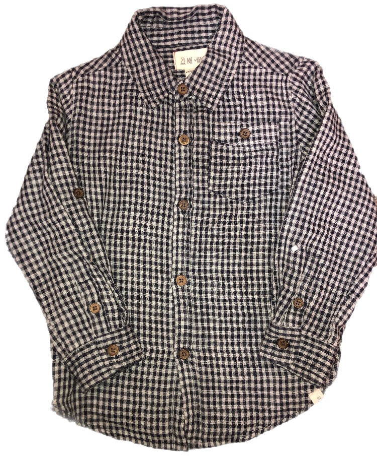 Me and Henry Navy Plaid Long Sleeve Button Up