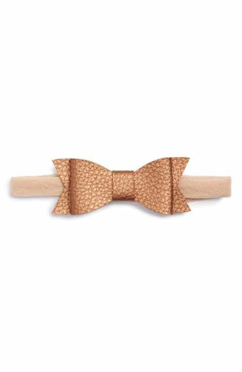 Baby Bling Skinny Leather Bowtie - Rose Gold