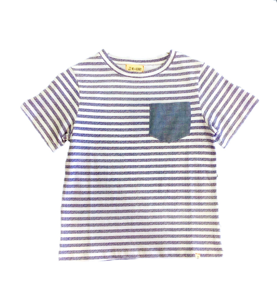 Me and Henry Navy Striped Pocket T