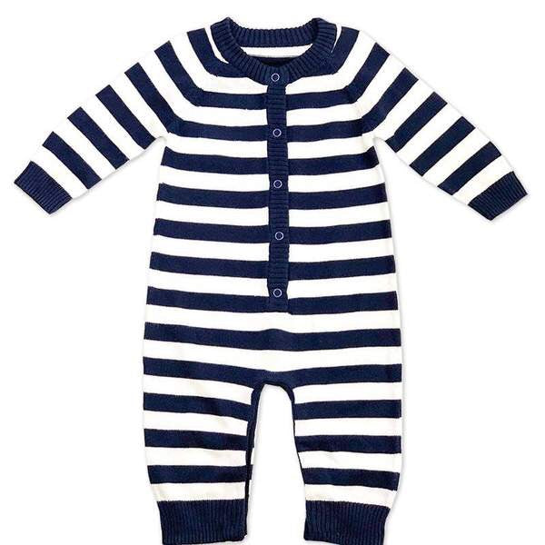 Viverano Milan Knit Navy Stripe Button Coverall